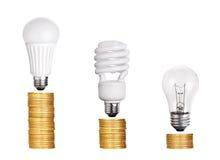 Insieme di fluorescente della lampadina LED CFL isolato su bianco Immagine Stock