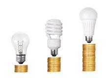 Insieme di fluorescente della lampadina LED CFL isolato su bianco Immagine Stock Libera da Diritti