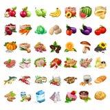 Insieme di frutta, delle verdure, dei prodotti a base di carne, della birra, dello spuntino, del latte e del dessert 42 icone di  illustrazione vettoriale