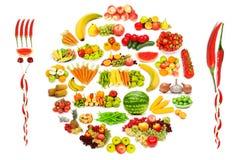 Insieme di frutta e delle verdure Immagini Stock