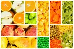 Insieme di frutta e delle verdure Fotografie Stock