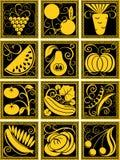 Insieme di frutta e delle verdure stilizzate illustrazione vettoriale
