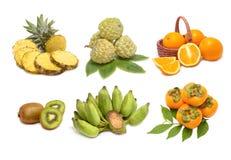 Insieme di frutta isolato Fotografia Stock