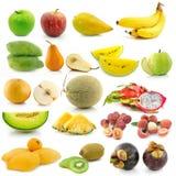Insieme di frutta su fondo bianco Fotografia Stock