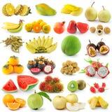 Insieme di frutta su fondo bianco Fotografia Stock Libera da Diritti
