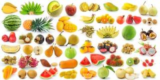 Insieme di frutta su fondo bianco Immagini Stock