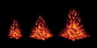 Insieme di fuoco stilizzato rosso su un fondo nero Immagini Stock Libere da Diritti