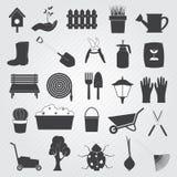 Insieme di giardinaggio di vettore delle icone Fotografia Stock