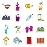 Insieme di giardinaggio di scarabocchio delle icone Royalty Illustrazione gratis