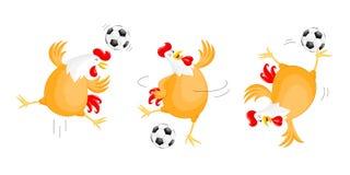 Insieme di giocar a calcioe felice del pollo illustrazione vettoriale