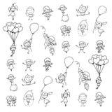 Insieme di gioco felice dei bambini del fumetto del disegno della mano Immagine Stock Libera da Diritti