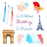 Insieme di giorno di Bastille Illustrazione disegnata a mano dell'acquerello di Marianne illustrazione vettoriale