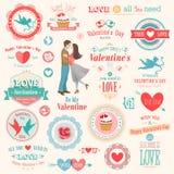 Insieme di giorno del ` s del biglietto di S. Valentino Fotografia Stock