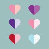 Insieme di giorno del ` s del biglietto di S. Valentino del cuore Immagine Stock Libera da Diritti