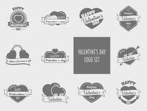 Insieme di giorno di biglietti di S. Valentino degli elementi dell'etichetta, dei distintivi, del bollo e di progettazione Fotografia Stock Libera da Diritti