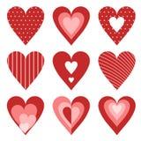 Insieme di giorno di biglietti di S. Valentino dei cuori Fotografia Stock Libera da Diritti