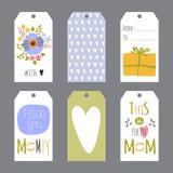 Insieme di giorno di madri delle etichette Immagini Stock Libere da Diritti