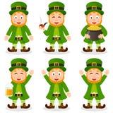 Insieme di giorno di St Patrick s del leprechaun del fumetto Fotografia Stock