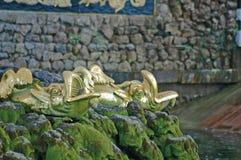 Insieme di grande cascata in Petrodvorets Fotografie Stock