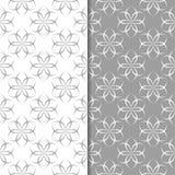Insieme di gray e di bianco degli ambiti di provenienza floreali Reticoli senza giunte Fotografia Stock
