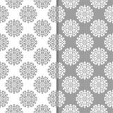 Insieme di gray e di bianco degli ambiti di provenienza floreali Reticoli senza giunte Fotografia Stock Libera da Diritti
