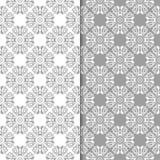 Insieme di gray e di bianco dei modelli senza cuciture floreali Immagine Stock Libera da Diritti