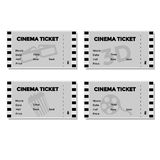 Insieme di Grey Cinema Ticket Fotografia Stock