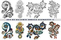 Insieme di Henna Paisley Mehndi Doodle Element Fotografia Stock Libera da Diritti