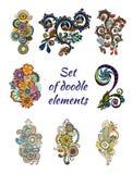 Insieme di Henna Paisley Mehndi Doodle Element Immagini Stock