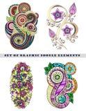 Insieme di Henna Paisley Mehndi Doodle Element Fotografia Stock