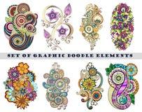 Insieme di Henna Paisley Mehndi Doodle Element Fotografie Stock Libere da Diritti
