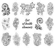 Insieme di Henna Paisley Mehndi Doodles Element Fotografia Stock