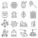 Insieme di Honey Line Icons Immagini Stock Libere da Diritti