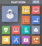 Insieme di Icons del tecnico del computer di applicazione di vettore Fotografia Stock