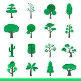 Insieme di Iicon degli alberi verdi Fotografie Stock