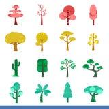 Insieme di Iicon di molti alberi di colore Fotografie Stock