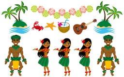 Insieme di immagine del ballerino e del hawaiano di hula royalty illustrazione gratis