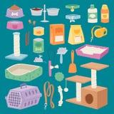 Insieme di immagini accessorio isolato di cura di animale domestico con le spazzole di legno dei giocattoli del cane-cavo della f Immagine Stock Libera da Diritti