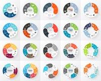 Insieme di infographics delle frecce del cerchio di vettore 3, 4, 5, 6 opzioni, parti, punti Modello per il diagramma del ciclo,  royalty illustrazione gratis
