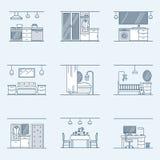 Insieme di interior design Icone lineari per interior design su un fondo scuro Bagno, corridoio, cucina, vivente Fotografia Stock