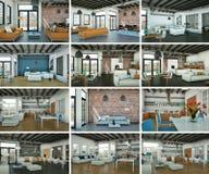Insieme di interior design moderno del sottotetto Fotografie Stock