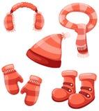 Insieme di inverno degli accessori Immagini Stock