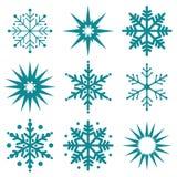 Insieme di inverno del fiocco di neve di nero isolato immagini stock
