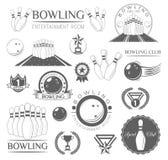Insieme di Lables di bowling Illutration di vettore Royalty Illustrazione gratis
