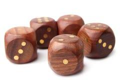 Insieme di legno dei dadi Immagine Stock