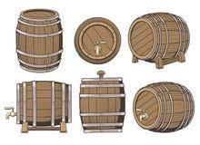 Insieme di legno del barilotto illustrazione di stock
