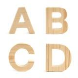 Insieme di legno del carattere in grassetto isolato Immagine Stock Libera da Diritti