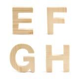 Insieme di legno del carattere in grassetto isolato Fotografia Stock