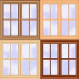 Insieme di legno della finestra fotografie stock libere da diritti