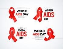 Insieme di logo di consapevolezza del Hiv I nastri rossi con abbagliamento, Giornata mondiale contro l'AIDS firma la raccolta Fer Immagine Stock Libera da Diritti